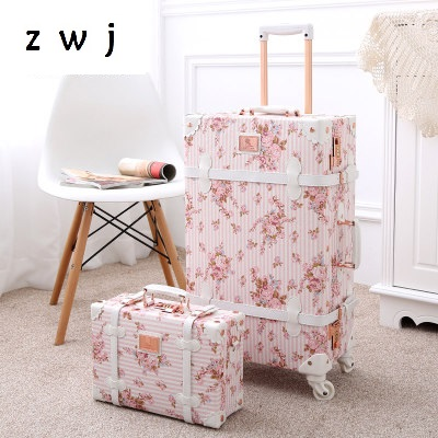 20 22 24 26 inch women Retro spinner rolling luggage trolley floral suitcase with handbag