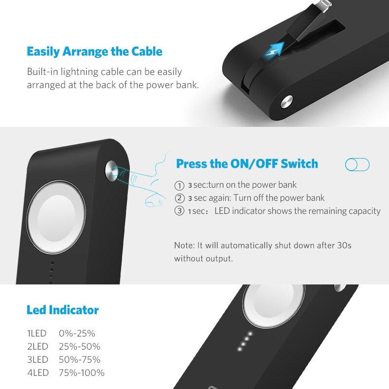 Ugreen Chargeur Sans Fil Puissance Banque 4400 mah pour Apple Montre 4/3/2 iPhone X 8 Externe Batterie chargeur pour Mobile Téléphones Poverbank - 6