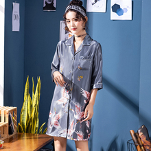 Wasteheart Summer Red Sleeping Shirt Sleep Wear Women Printed Collar Neck Woven Female Sexy Tops Clothes Plus Size Gown