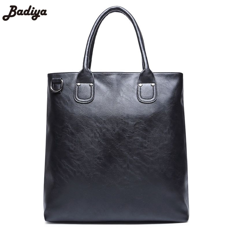 Multifunction Solid Hand Bag PU Leather Casual Business Tote Bags For Man  Large Capacity Black Men's Handbag 2017 business pouch large capacity male genuine leather weaving tote casual hand bag multifunction black shoulder briefcase bag