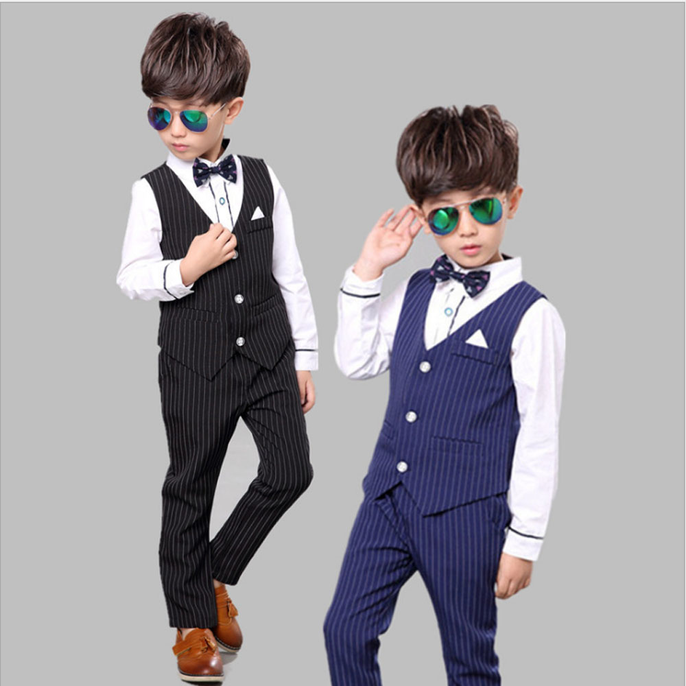 2017 New Fashion Boys Blazers Suit for Weddings Vest+Blouse+Pants 3 pieces/set Kids Cotton Single Breasted Clothes Boys Blazers single breasted knot blouse