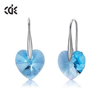 6592a44693a4 CDE 925 pendientes de plata de ley embellecidos con cristales de pendientes  de gota de corazón de Swarovski para mujer joyería de plata esterlina