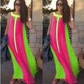 2016 Женщины Long Beach Dress Мода Без Рукавов Танк Лоскутная Повседневная С Длинным Макси Dress Чешские Пляж Vestidos