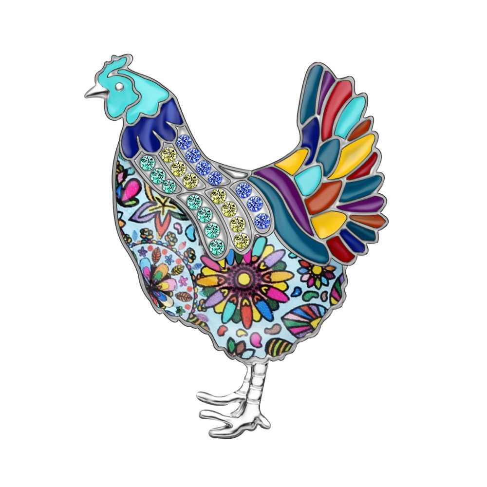 Bonsny Enamel Alloy Lucu Ayam Ayam Bros Pakaian Syal Pin Fashion Hewan Perhiasan untuk Wanita Gadis Hadiah Hiasan Dekorasi
