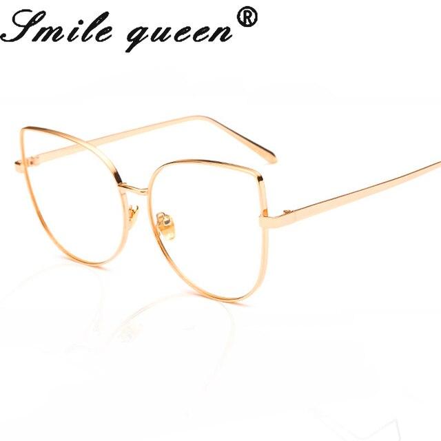 New Rose Gold Cat Eye Glasses Metal Frame Fashion Designer Brand ...