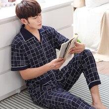 2018 summer men pajama set red sleepwear men suit Short sleeve pyjama men's pajamas sets cotton Plaid sleepwears men's coton 3XL