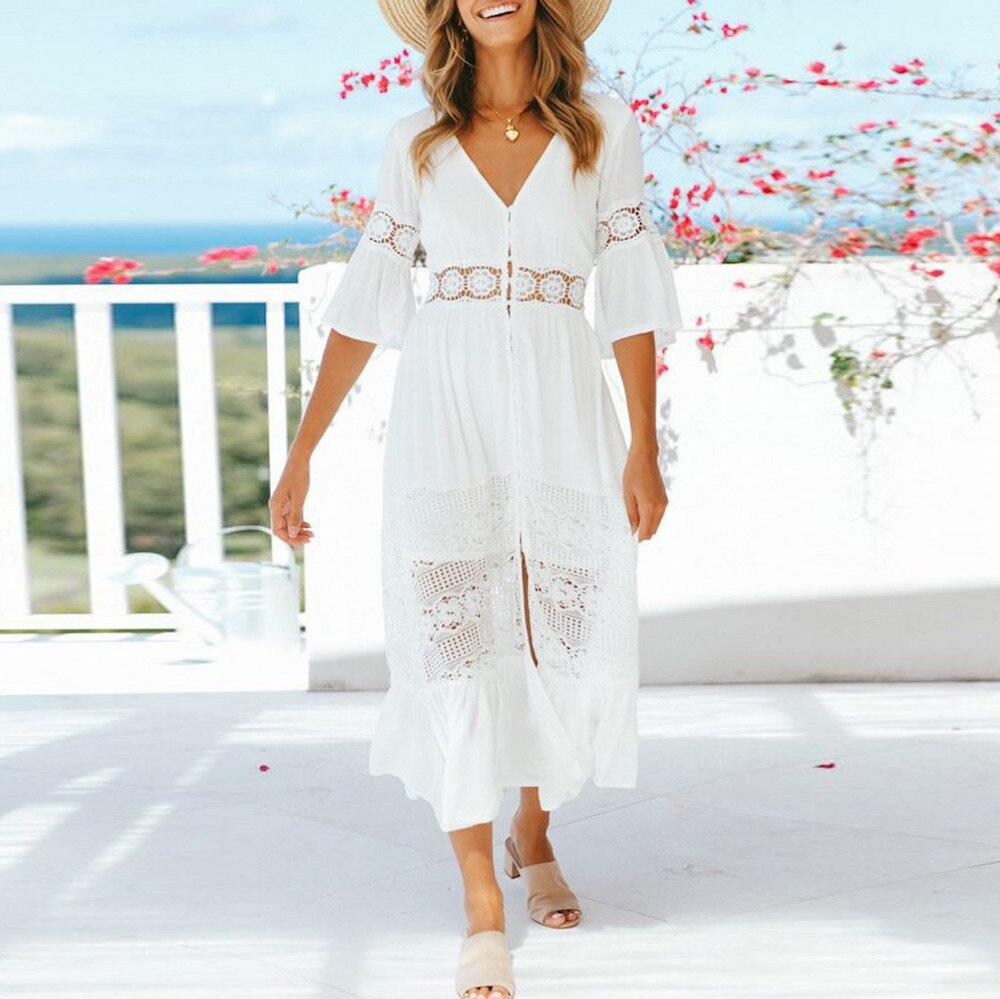 2018 Fashion dress female Hot Sale Women Casual Solid V-Neck Lace Patchwork Button 34 Sleeve Split Long Dress Vestidos Robe
