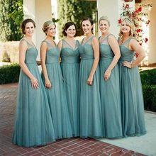 5f9e14f252d 2018 Bridesmaid Dresses A Line V Neck Chiffon Junior Bridesmaids Dress  Tulle Wedding Party Gowns Custom Made
