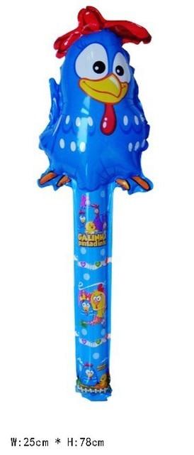 60Pcs Galinha pintadinha Inflatable balloon toys cheer stick cartoon head balloon clappers bangbang stick