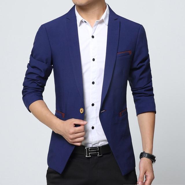 084386e04cda Mens Blazer Black Khaki Blue Solid Casual Suit Jackets Men Size M-3XL Slim  Fit