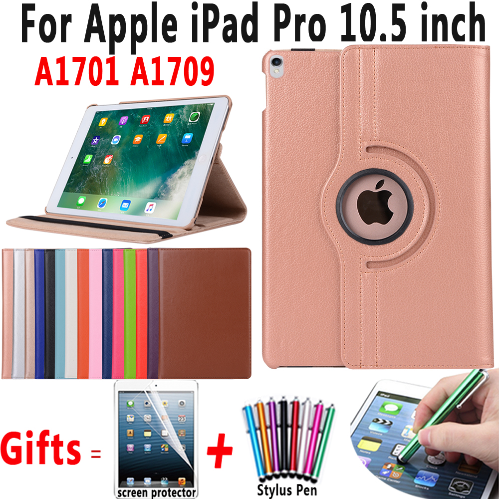 все цены на 360 Degree Rotating Leather Cover Auto Sleep Awake Smart Case for Apple iPad Pro 10.5 A1701 A1709 Coque Capa Funda + Pen + Film