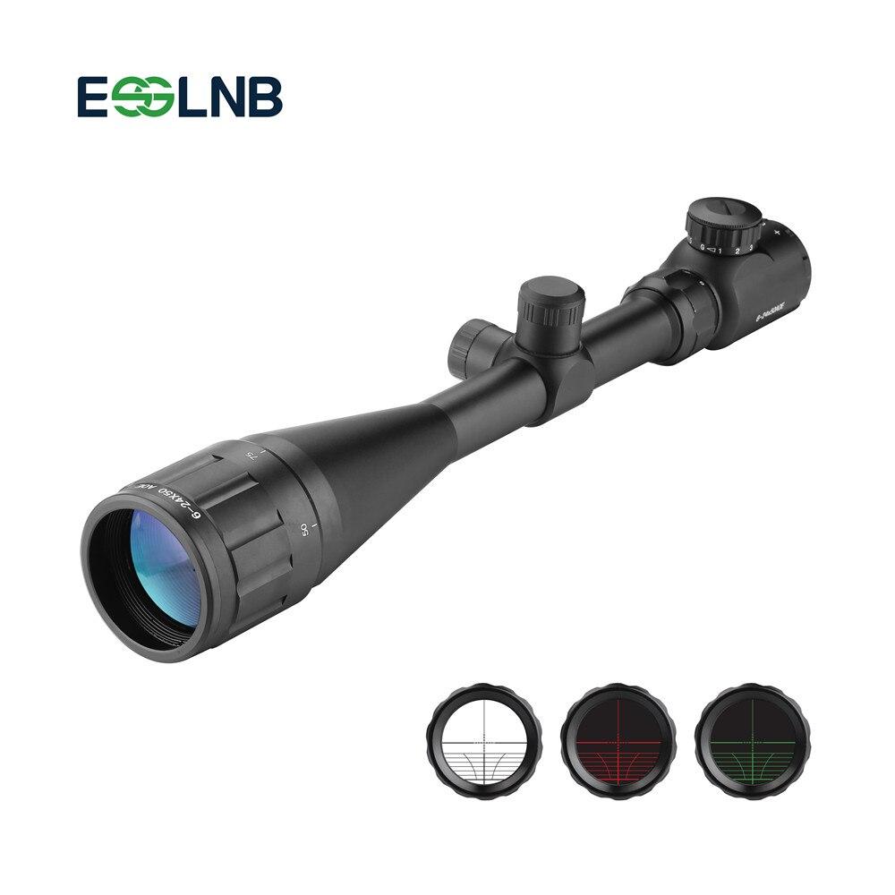 6-24X50 Tactical Riflescope AOE Red Green Iluminado Crosshair Scope Gun Optical Visão Âmbito Caça Scope Com 20mm Rail Mount
