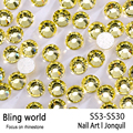 SS3-SS30 Jonquil Nail Art Rhinestones With Round Flatback For Nails Art Cell Phone And Wedding Decorations