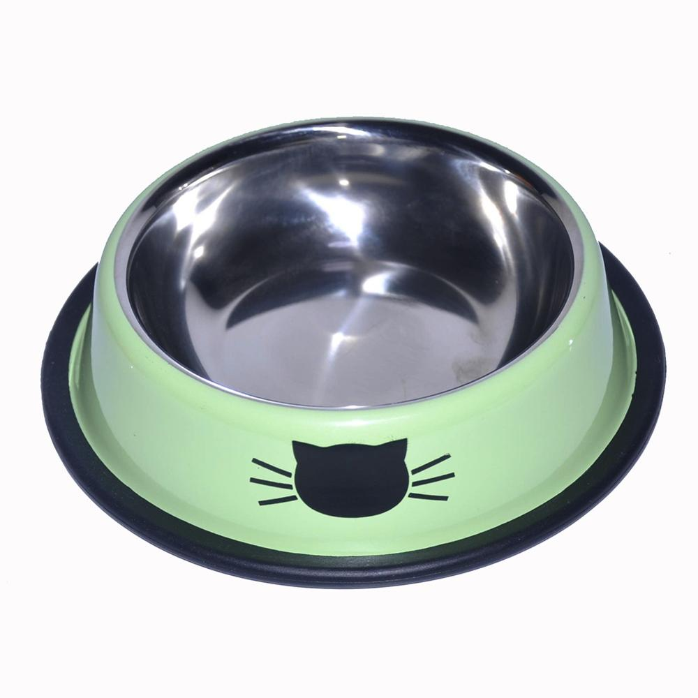 New Arrival Pet Stainless Steel Paint Cat Bowl Supplies Food FSC0051