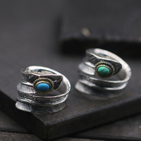 925 Sterling Silver goro's Takahashi Blue Turquoise Light Tide Men And Women Wide Face Open Index Finger Ring Indian