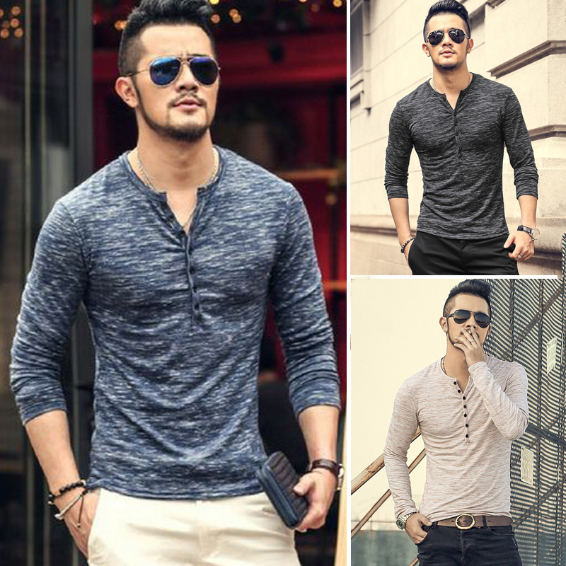 ba7dc77cedaa7 Fashion Men S Slim Fit V Neck Long Sleeve Muscle Tee T-Shirt Casual Tops  Blouse V-Neck Skinny New Hot