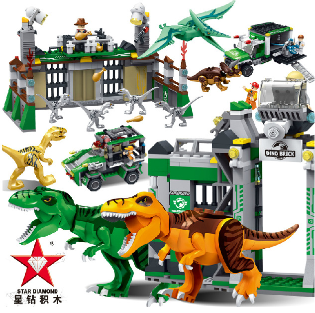 Jurassic World Marvel Building Blocks Model kits Action Figure  Toys Brick juguetes  Compatible Legoe loz mini diamond block world famous architecture financial center swfc shangha china city nanoblock model brick educational toys