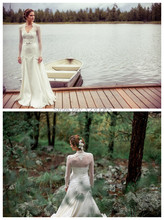 free shipping 2015 New Arrival Ivory Long Sleeves Vintage Style Bohemian Wedding Dresses with jacket appliques bridal Gown bride
