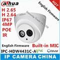 Dahua h2.65 4mp ipc-hdw4431c-a microfone embutido hd ir 30 m rede ip câmera de segurança cctv dome camera suporte poe hdw4431c-a