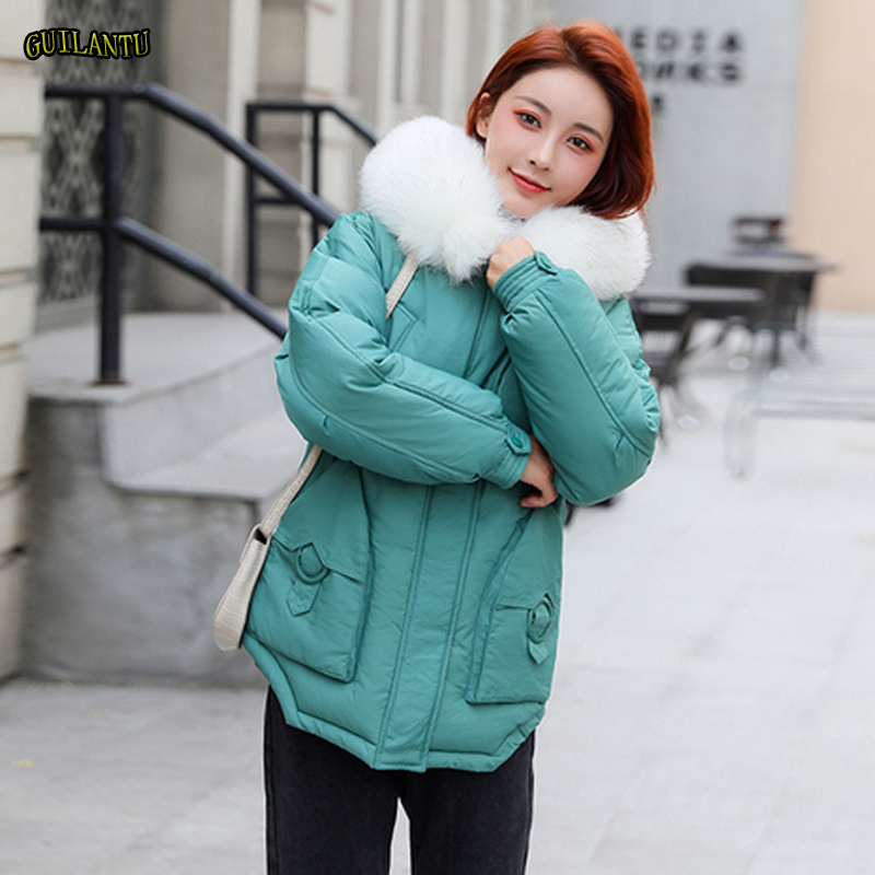 Women Winter Thickening Quilted Down Cotton Padded Jacket Coat Plus Size Inside Pockets Hooded Warm Short