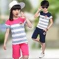 2016 летних девочек одежда полосатый майка детской одежды из двух комплект мальчиков одежда детская одежда Roupas Infantis Menina