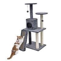 RU Domestic Delivery Cat Climbing Tree Pet House With Staircase Cat Scratching Post Kitten Playing Ball Bowl Cat Furniture
