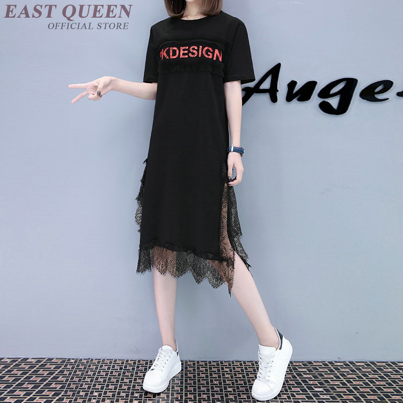 Shirt dress summer 2018 Straight Lace out Mid-Calf O-Neck sides high slit short sleeves maxi size dresses for women AA3651 Y a