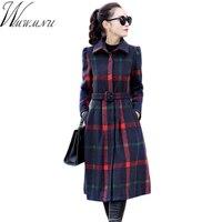 2018 Autumn Spring Women Woolen Dress slim Ladies Long Sleeve Female grid Dresses with Belt A line big swing Vestidos