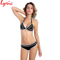 Lyric Black Hand Made Crochet Bikini Sexy Women Swimsuit Brazilian Swim Wear 2018 New Arrival Bathing