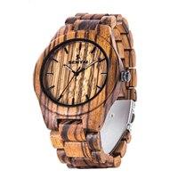 Top Fashion Brand Mens Minimalist Deisgn Watch Zabra Wooden Quartz Watches Male Sport Clock Relogios Madera Horloge Genuine New