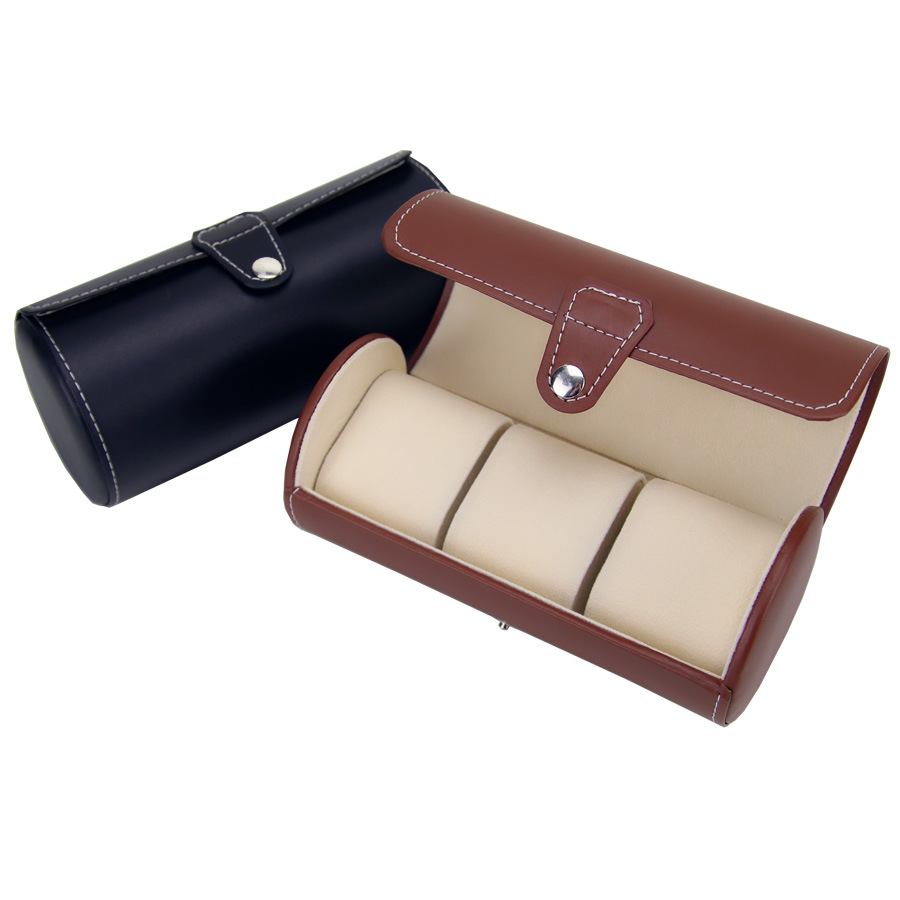 New Arrivals Creative PU Leather Watch Boxes Portable Travel Watch Case Roll 3 Slots Wristwatch Box Storage Fashion Watch Boxes