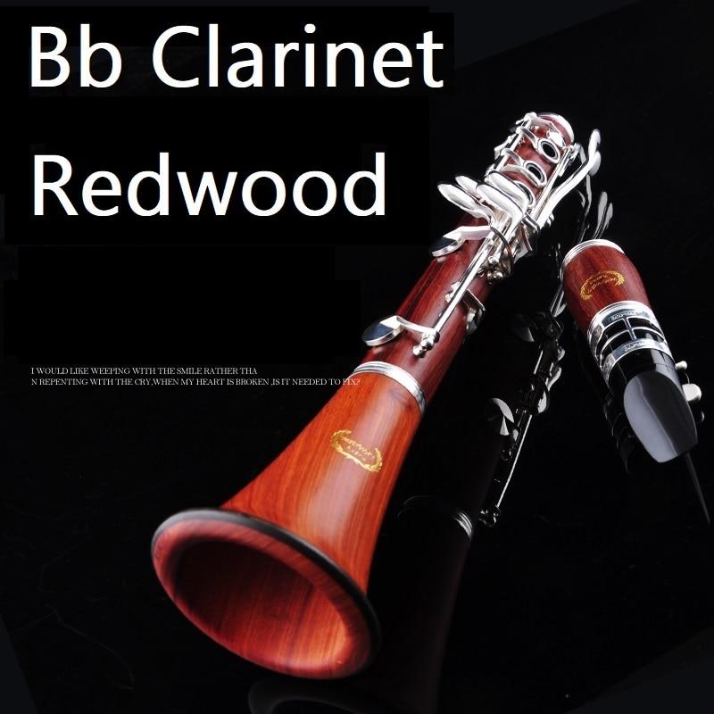 Redwood Bb copper nickel keys clarinet profession Bb clarinet 17 buttons wind music clarinet softwood Instrument brand clarinet stone n mr clarinet