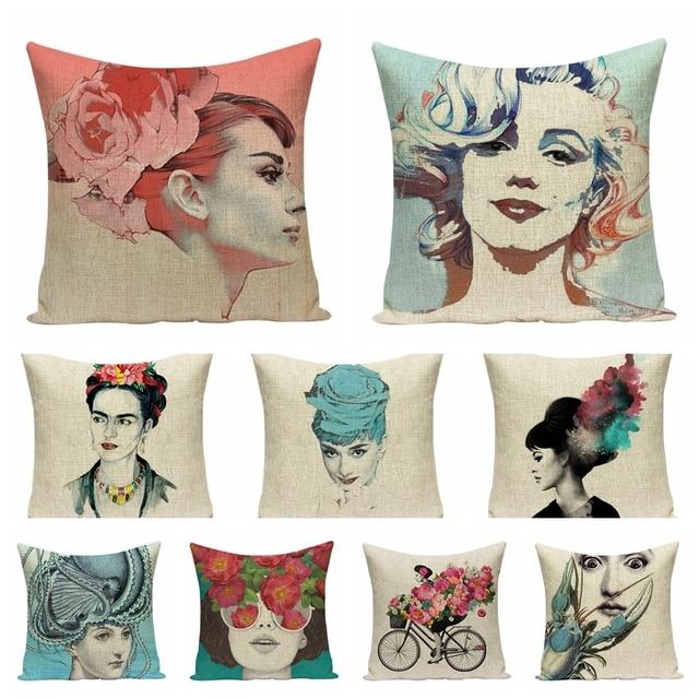 Modern Simple Character Printed Cotton Linen Pillowcase Elegant Woman Goddess Decorative Cushions Home Decor Sofa Throw Pillows