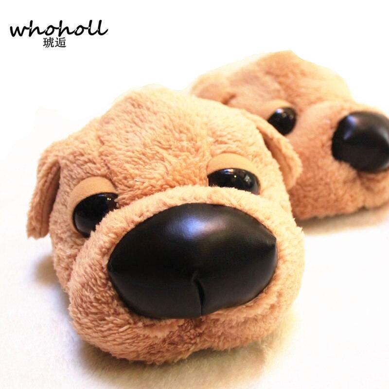 Whoholl Winter Home Funny Slipper Christmas Gift Men Cotton Cute Dog Male Plush Slipper Floor Fantufas Couple Shoe Sapato Mascul