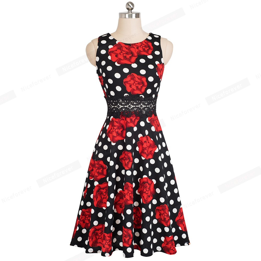 Nice-forever Vintage Elegant Embroidery Floral Lace Patchwork vestidos A-Line Pinup Business Women Party Flare Swing Dress A079 113
