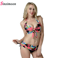 Plus Size Bikinis Set Floral Butterfly Printed Push Up Biquini Swimwear Vintage Large Size Underwire Bathing