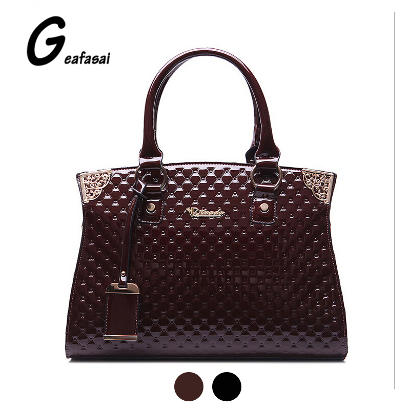 ФОТО large wine red black Glossy patent leather ladies top handle saffiano handbag Totes shoulder bag for women lady female feminina