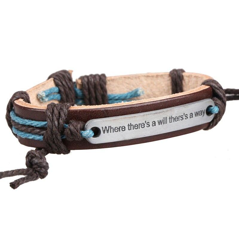 Fashion Man Bracelets Motivational Jewelry Metal Work Carving Nameplate PU Leather Weave Braid String Band Bangle Gift ML