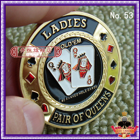 Metal for Pressing Poker Cards Guard Protector No.53 LADIES PAIR OF QUEENS  Poker Chips Souvenir Coins