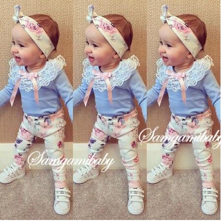 2016 ins baby girl clothing set long sleeve lace T-shirt+ pants+headband 3pcs Infant bebe girl clothes set toddler cloth set