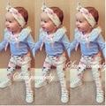 2016 ins baby girl set de ropa de manga larga de encaje t-shirt + pants + headband 3 unids Infantil bebe ropa de niña de tela conjunto niño conjunto