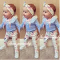 2016 ins bebê conjunto roupa da menina manga comprida lace T-shirt + calça + headband do 3 pcs Infantil bebe roupas de menina definir criança conjunto de pano