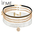 IF ME Multilayer Crystal Neckalces Pink Cute Coin Rudder Pendant Metal Chain Yarn Choker Necklace Fashion New Jewelry Collier