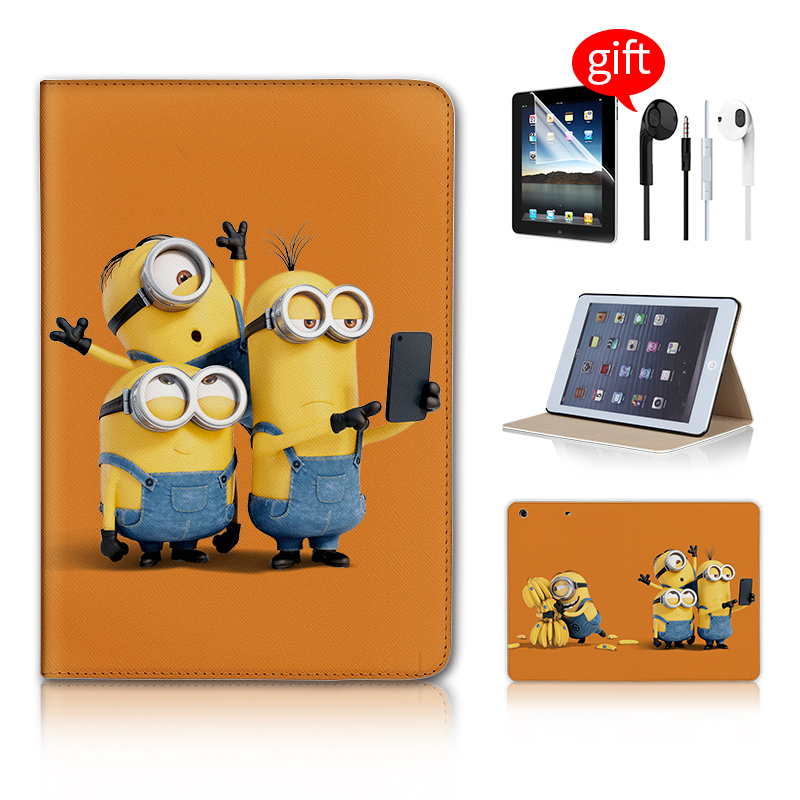 Minions Selfie Print Leather Magnetic Case funda Smart Cover For apple iPad mini case For iPad Mini 1 2 3 4 Retina Case wake up minions selfie print leather magnetic case funda smart cover for apple ipad mini case for ipad mini 1 2 3 4 retina case wake up