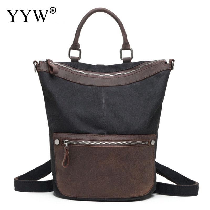 Polyester Backpack Supplies For Men Vintage School Bag For Teenager Waterproof Patchwork Travel Backpack Top Handle Hand Bags
