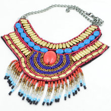 Trendy  Bohemia jewelry Handmade Embroidery Bead Women collar Necklace Ethnic style Statement Necklace Beads Resin Pendant