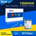 Fenvi Laptop Placa de wlan 867 M Para Intel 7260NGW 7260ac 2.4G/5 Ghz Sem Fio-AC NGFF Dual banda Cartão de 867 Mbps Wifi + Bluetooth BT 4.0 M.2