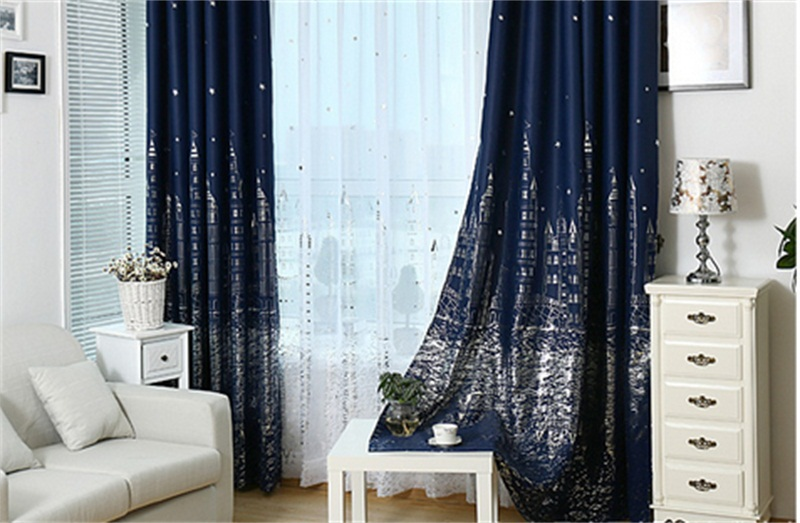 Curtains Ideas blue and gold curtains : Aliexpress.com : Buy Blue water curtain castle children Gold star ...