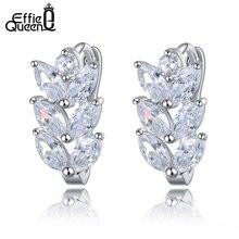 Effie Queen Vintage Leaf Design Stud Earring with Luxury AAA Marquise Cut Austrian CZ Crystal Earrings