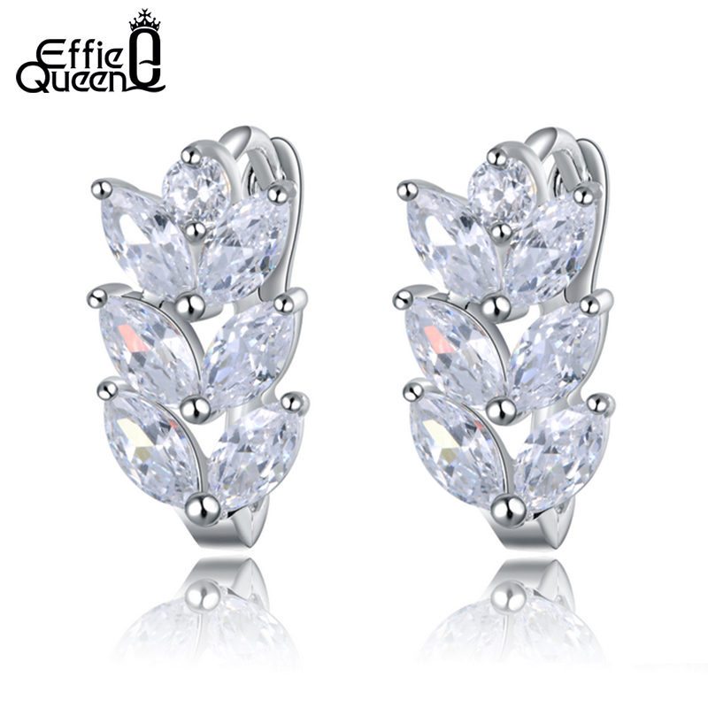Effie Queen Vintage Leaf Design Stud Earring with Luxury AAA Marquise Cut Austrian CZ Crystal Earrings for Girls Gift DDE03